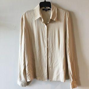 Emanuel Ungaro beige silk stretch blouse size 12